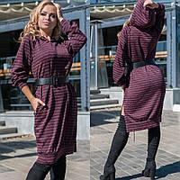 Платье туника, женское большого размера, утепленное, повседневное, с капюшоном и карманами,  свободное