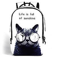 Школьный черно-белый рюкзак с модным принтом Кот в очках Runningtiger для подростка в школу