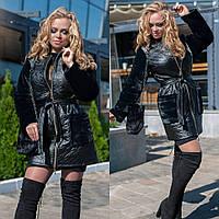 Кардиган женский, большого размера, на молнии, удлиненный, меховые карманы и рукава, до 56-го размера, фото 1