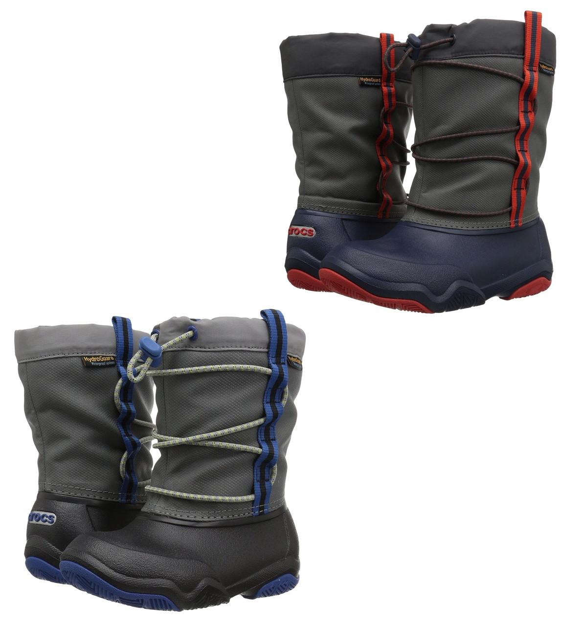 Сапоги зимние для мальчика Crocs Kids Swiftwater Waterproof Boot / сноубутсы непромокаемые с затяжкой