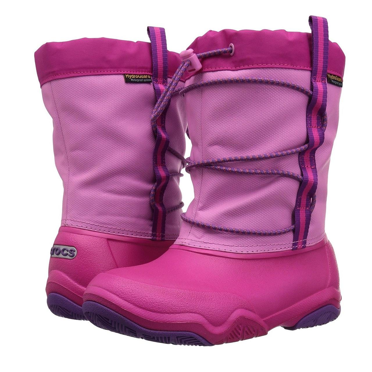 Сапоги зимние для девочки Crocs Kids Swiftwater Waterproof Boot / сноубутсы непромокаемые с затяжкой