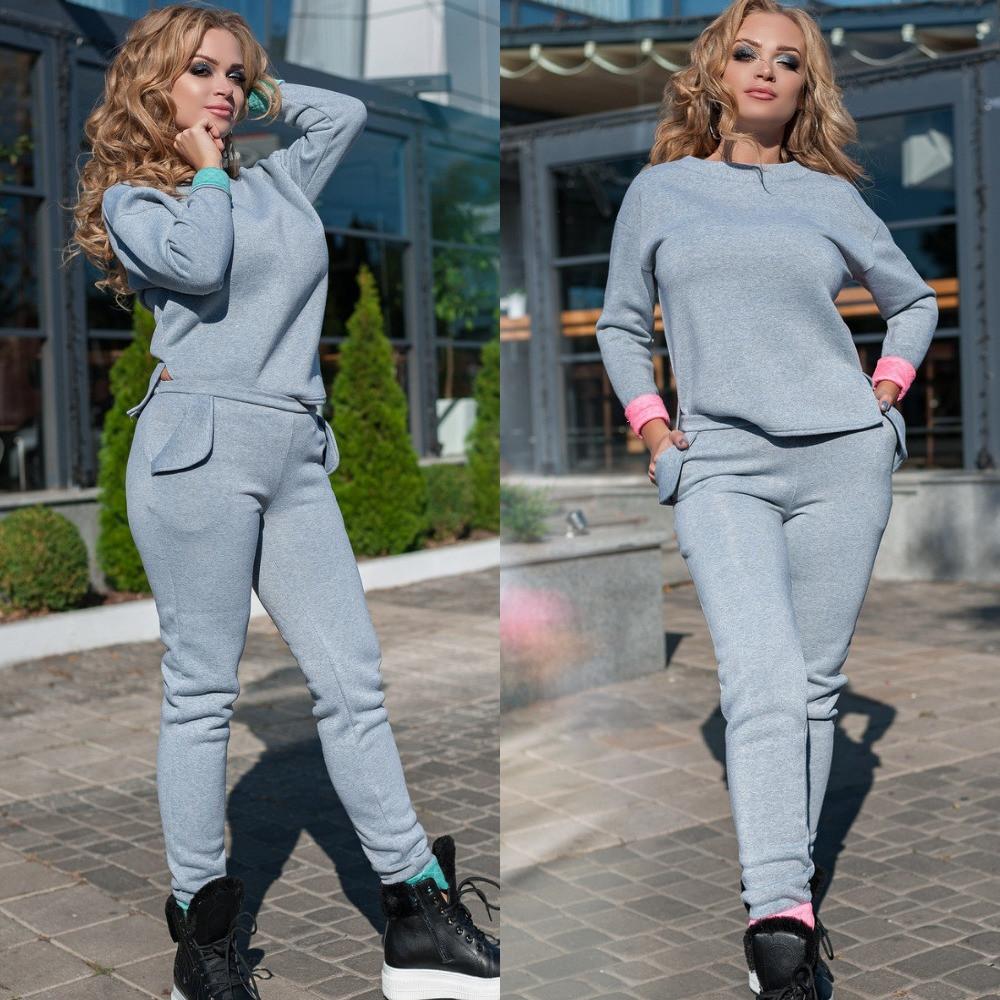 Костюм женский теплый, большого размера, спортивный,с начесом, прогулочный, модный, стильный, удобный,до 56 р-, фото 1