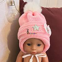 Зимняя шапочка на флисе для девочки на годик, цвет на выбор
