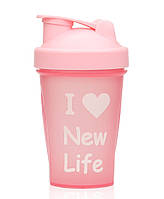 Шейкер для протеиновых коктейлей, розовый, 400 мл