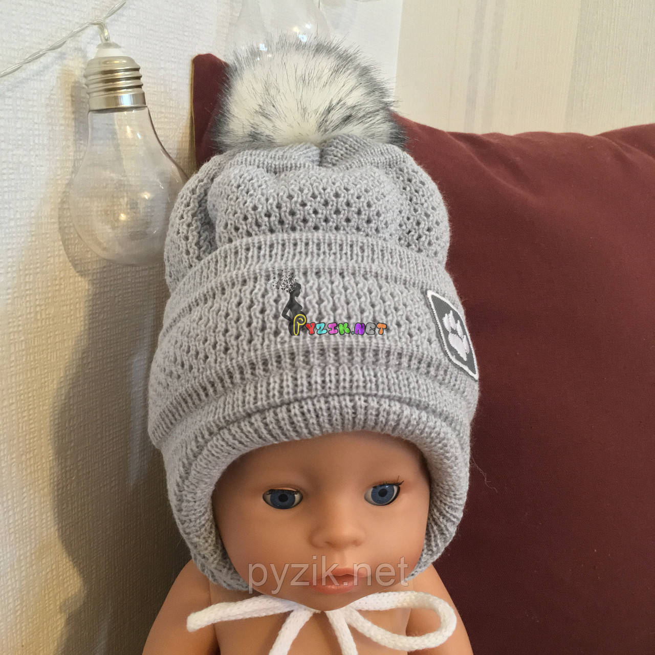 Зимняя шапочка на флисе для мальчика на годик, цвет на выбор