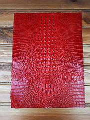 Кожа искусственная с тиснением крокодила 35*50см цвет Красный