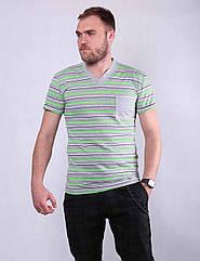 Футболка мужская полосатая 1489 с карманом на груди 48-60р ФМ-260038