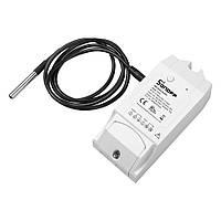 Sonoff TH10. Wifi реле времени  в комплекте с влагозащищенным датчиком температуры DS18B20. Терморегулятор, фото 1
