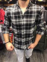 Мужская рубашка теплая в клетку А-OFSWhite black 4,OFSDark brown