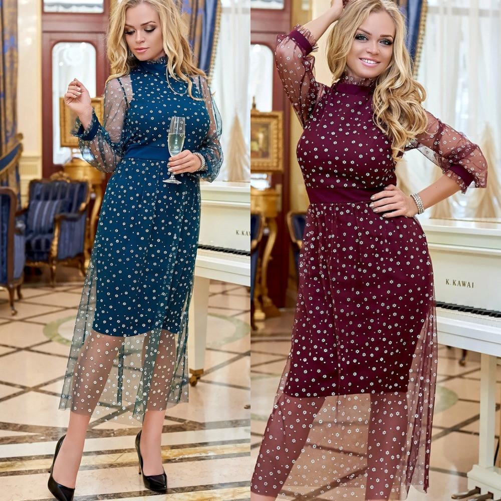 Платье женское вечернее, большого размера, нарядное, с сеткой в горошек, красивое, модное, яркое, эффектное,