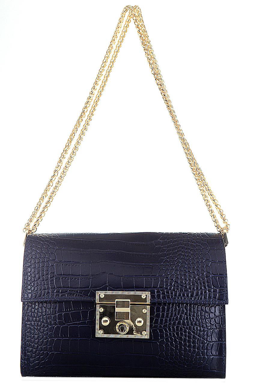 Женская кожаная сумка CLEA Diva's Bag цвет темно-синий