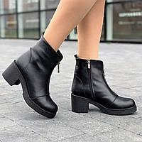 Черевики жіночі зимові шкіряні чорні (код 8917) - черевики жіночі зимові шкіряні чорні, фото 1