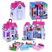 Двухэтажный раскладной домик для кукол/ Дом для кукол с фигурками и мебелью F611
