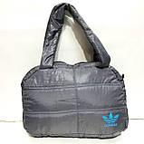 Дутые СПОРТИВНЫЕ сумки под пуховик Adidas БОЛЬШ (СЕРЫЙ-БЕЛЫЙ)26*39см, фото 4