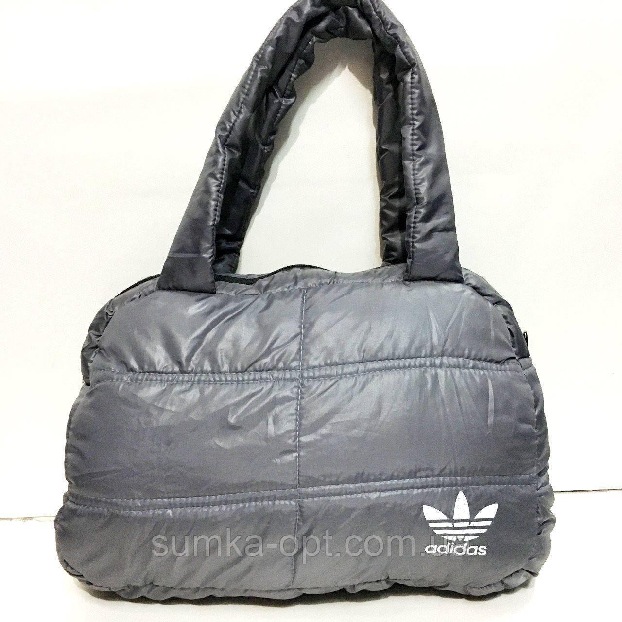 Дутые СПОРТИВНЫЕ сумки под пуховик Adidas БОЛЬШ (СЕРЫЙ-БЕЛЫЙ)26*39см