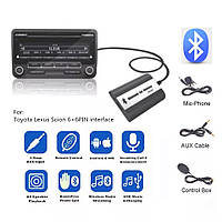 Эмулятор CD чейнджера TOYOTA LEXUS Scion 6+6pin DOXINGYE USB AUX Bluetooth Handsfree, фото 1