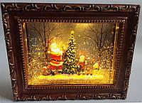"""Новорічний декор лампа - """"Картина"""" зі снігом і мелодіями"""