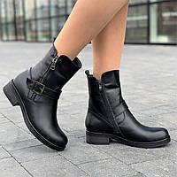 Ботинки женские зимние кожаные черные полусапожки (код 8918) - жіночі черевики зимові шкіряні чорні, фото 1
