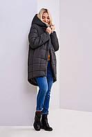 Зимняя молодежная длинная куртка цвета хаки размер 46