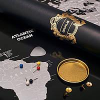 Скретч Карта Світу в Тубусі Чорна і Срібна Карта з Прапорами і Містами