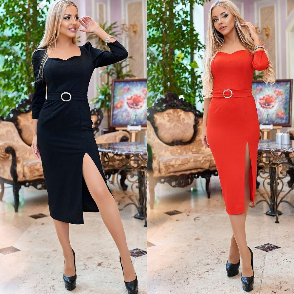 Платье футляр женское, стильное, нарядное, миди, эффектное, модное, с разрезом, пояс в комплекте, до 48 р-ра, фото 1