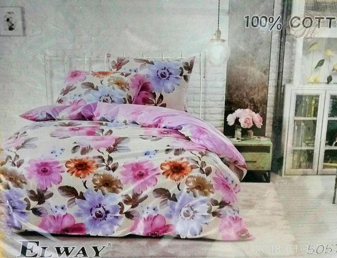 Семейный комплект постельного белья   ELWAY 5057 сатин