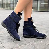 Ботинки полуботинки женские зимние замшевые темно синие (код 8919) - жіночі черевики ботінки зимові замшеві