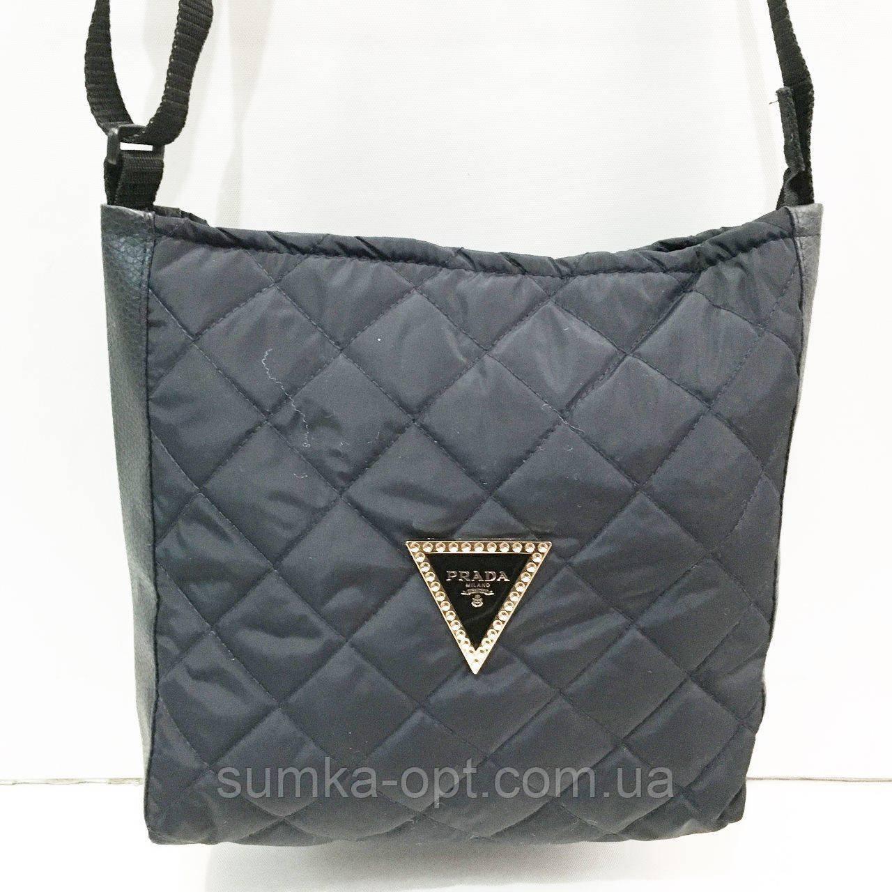 Стеганные сумочки и клатчи на плечо Prada (ЧЕРНЫЙ)23*28см