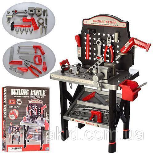 Детский игровой набор инструментов 16554B: верстак, дрель-вращ.сверло, 50 деталей, на батар, 47-57-10см