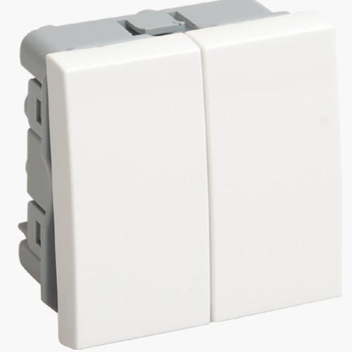 Выключатель проходной (переключатель) двухклавишный ВК4-22-00-П Пpaймep белый ІЕК [CKK-40D-PD2-K01] ИЕК