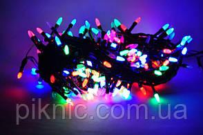 При покупке елки. Гирлянда светодиодная 8 м, 100 разноцветных лампочек. Режим переключения цвета