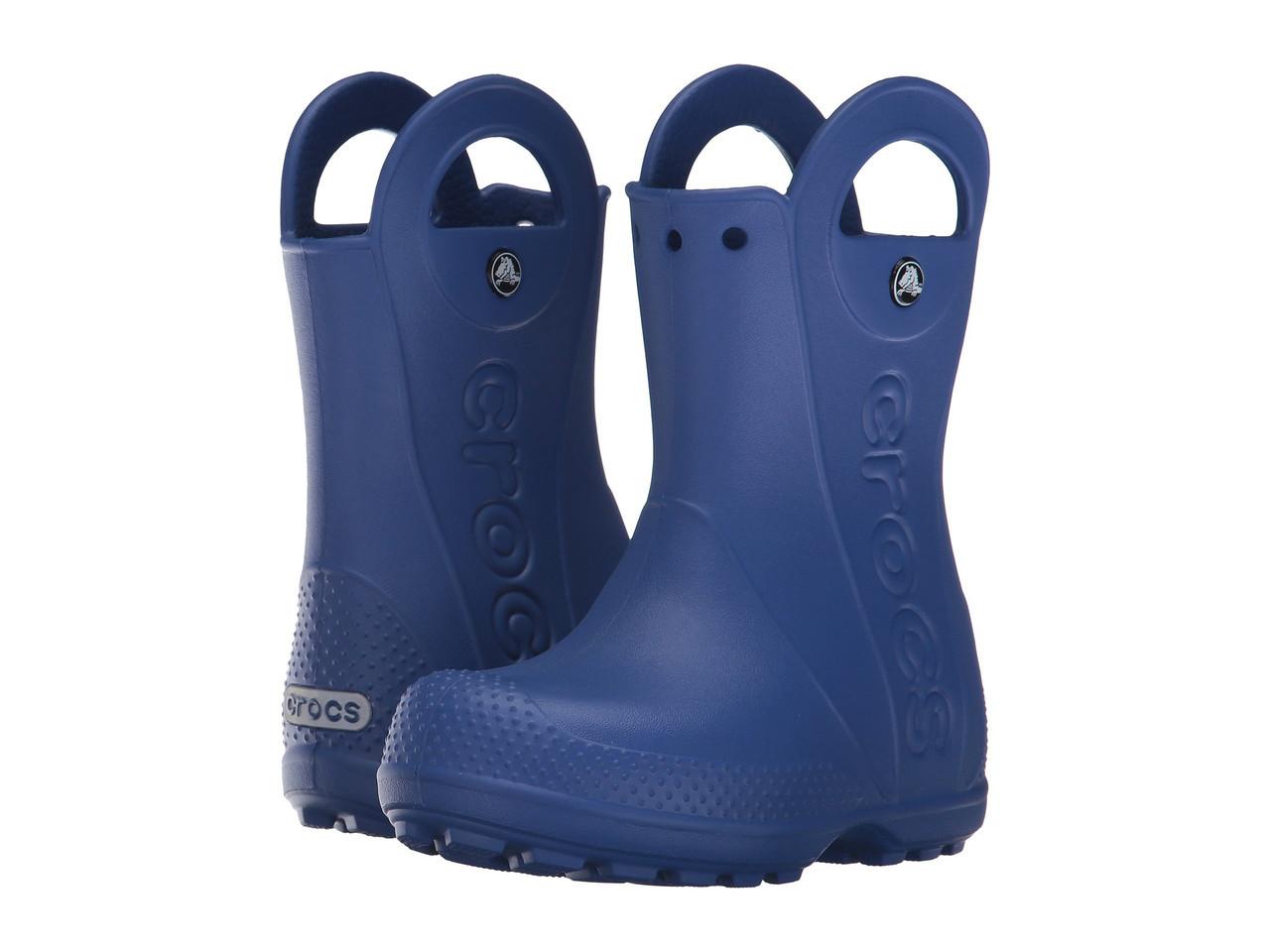 Сапоги резиновые для мальчика дождевики Кроксы с ручками / Crocs Kids Handle It Rain Boot (12803), Синие