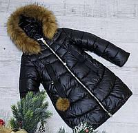 Зимняя куртка 35 DH цвет черный на 100% холлофайбере размеры от 134 см до 158 см рост, фото 1