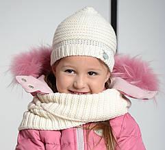 Комплект шапка + шарф для девочки Viaelisia Италия 9153 Белый весенний осенний демисезонный