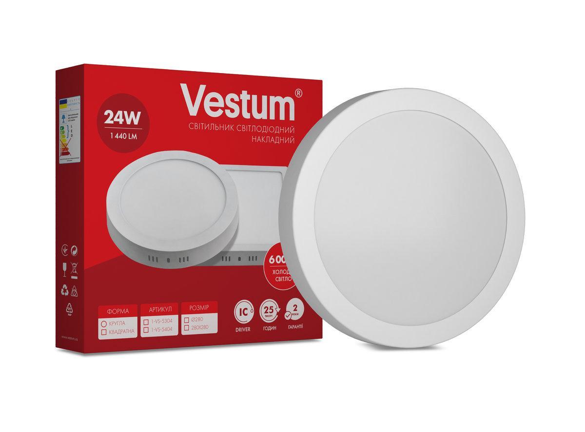 Светильник LED накладной круглый 24W 6000K 220V ТМ Vestum