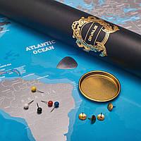 Большая Скретч Карта Мира Путешественника XXL Синяя Голубая в Подарочном Тубусе от Divalis