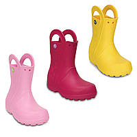 Сапоги резиновые для девочки Crocs Kids Handle It Rain Boot / дождевики с ручками
