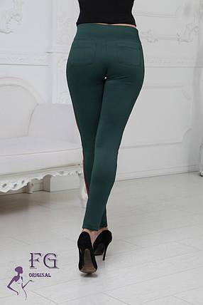 Женские лосины с лампасом эластичные Зеленый, 42, фото 2