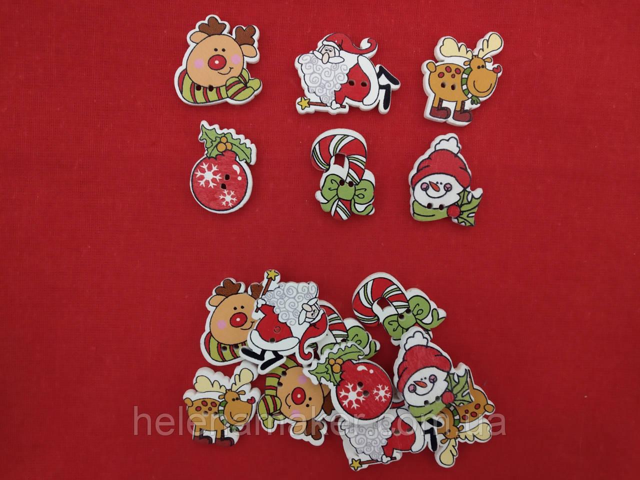 Набор деревянных новогодних пуговиц Новогодние символы 10 шт