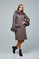 Красивое зимнее пальто с меховой опушкой 1205нм (44–54р) в расцветках