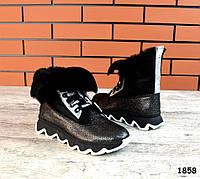 Зимние кожаные  ботинки с мехом мутона 36-41 р никель+чёрный, фото 1