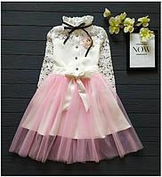 """Стильное нарядное  платье со съемной фатиновой юбкой  для девочки """"Клер"""""""