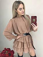 Женское платье горох беж с поясом