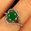 Срібне кільце із зеленим кварцом жіноче - Кільце із зеленим каменем срібло, фото 3