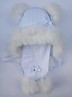 Зимняя шапка и шарф для грудничков девочек