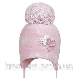 Шапка для девочки на завязках с помпоном Nikola Украина розовый,молочный B19Z303