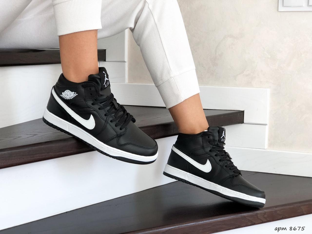 Высокие зимние подростковые кроссовки Nike Air Jordan 1 Retro,черно-белые