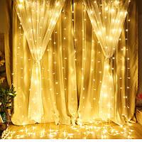 Светодиодная гирлянда штора водопад LED 200 лампочек с коннектором: размер 2х2м (теплый белый цвет), фото 1