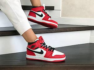 Высокие зимние подростковые кроссовки Nike Air Jordan 1 Retro,красные с белым, фото 2