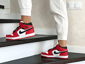 Высокие зимние подростковые кроссовки Nike Air Jordan 1 Retro,красные с белым, фото 3